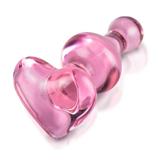 ICICLES No.75 - Rosa glass Buttplug med hjerteformet stopper